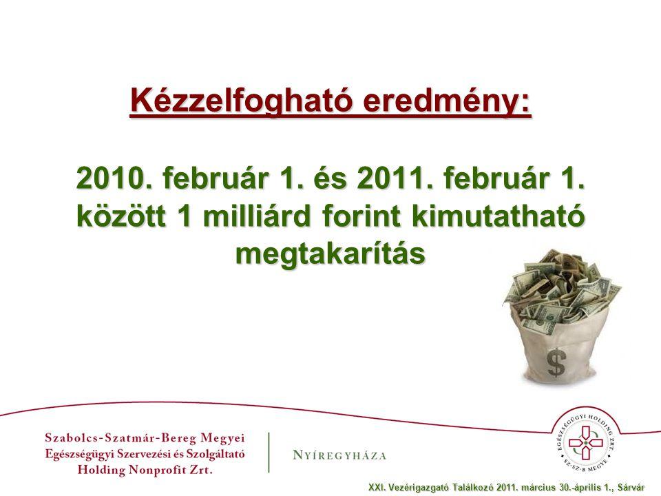 Kézzelfogható eredmény: 2010. február 1. és 2011.