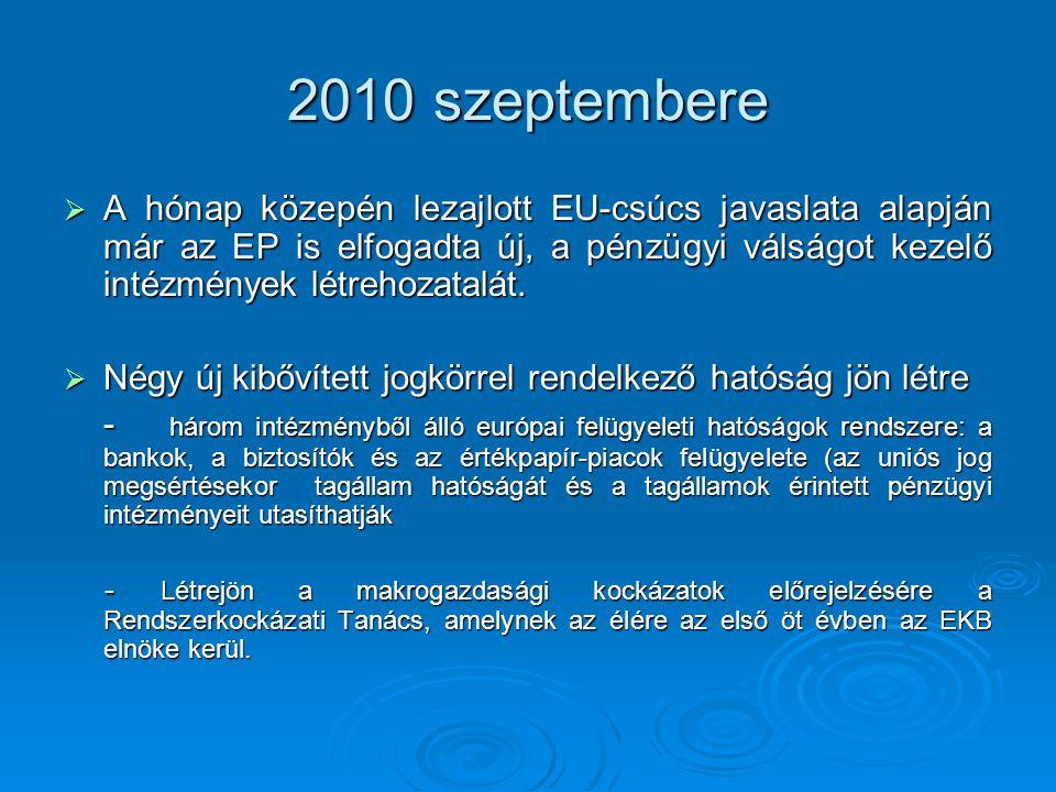 2010 szeptembere  A hónap közepén lezajlott EU-csúcs javaslata alapján már az EP is elfogadta új, a pénzügyi válságot kezelő intézmények létrehozatalát.
