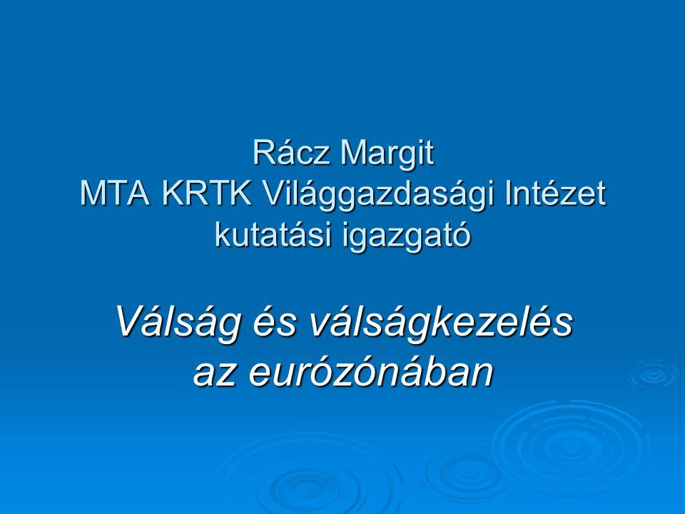 Rácz Margit MTA KRTK Világgazdasági Intézet kutatási igazgató Válság és válságkezelés az eurózónában