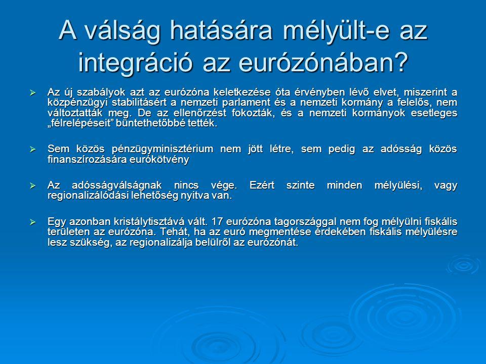 A válság hatására mélyült-e az integráció az eurózónában.