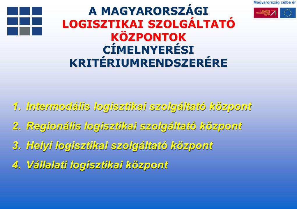 A MAGYARORSZÁGI LOGISZTIKAI SZOLGÁLTATÓ KÖZPONTOK CÍMELNYERÉSI KRITÉRIUMRENDSZERÉRE 1.Intermodális logisztikai szolgáltató központ 2.Regionális logisz