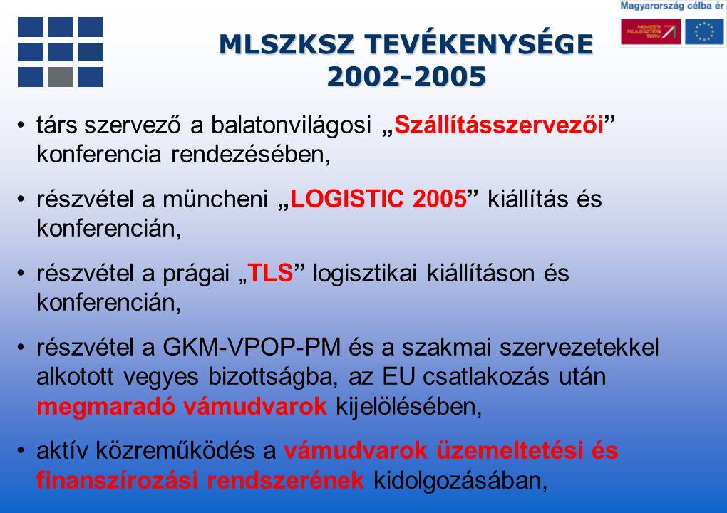 """MLSZKSZ TEVÉKENYSÉGE 2002-2005 2002-2005 társ szervező a balatonvilágosi """"Szállításszervezői"""" konferencia rendezésében, részvétel a müncheni """"LOGISTIC"""