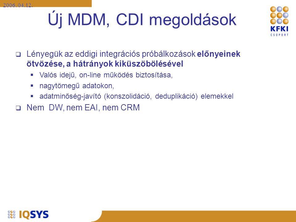 2006. 04.12 2006. 04.12. Új MDM, CDI megoldások  Lényegük az eddigi integrációs próbálkozások előnyeinek ötvözése, a hátrányok kiküszöbölésével  Val