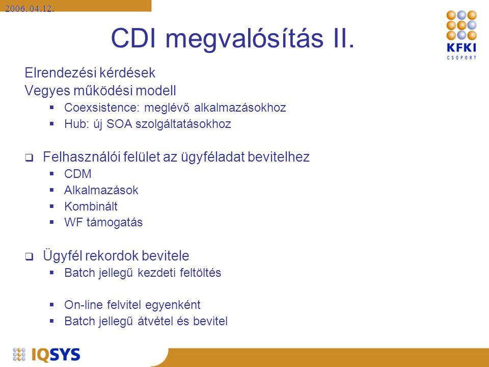 2006. 04.12 2006. 04.12. CDI megvalósítás II. Elrendezési kérdések Vegyes működési modell  Coexsistence: meglévő alkalmazásokhoz  Hub: új SOA szolgá