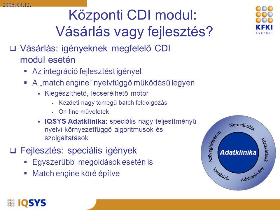 2006. 04.12 2006. 04.12. Központi CDI modul: Vásárlás vagy fejlesztés?  Vásárlás: igényeknek megfelelő CDI modul esetén  Az integráció fejlesztést i
