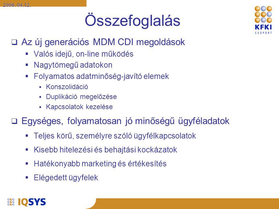 2006. 04.12 2006. 04.12. Összefoglalás  Az új generációs MDM CDI megoldások  Valós idejű, on-line működés  Nagytömegű adatokon  Folyamatos adatmin