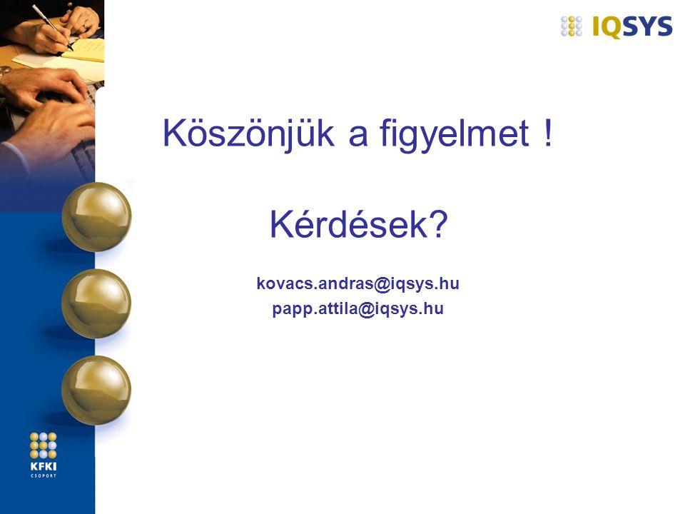 Köszönjük a figyelmet ! Kérdések? kovacs.andras@iqsys.hu papp.attila@iqsys.hu