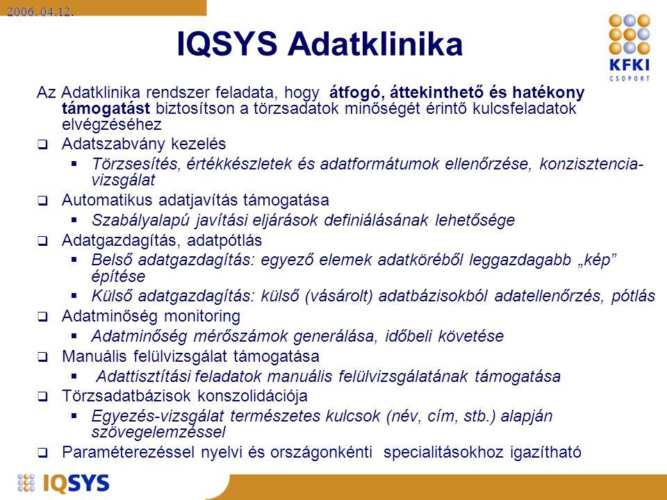 2006. 04.12 2006. 04.12. IQSYS Adatklinika Az Adatklinika rendszer feladata, hogy átfogó, áttekinthető és hatékony támogatást biztosítson a törzsadato