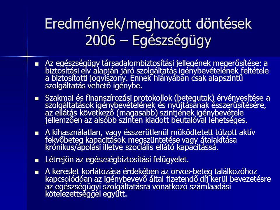 Eredmények/meghozott döntések 2006 – Egészségügy Az egészségügy társadalombiztosítási jellegének megerősítése: a biztosítási elv alapján járó szolgáltatás igénybevételének feltétele a biztosítotti jogviszony.