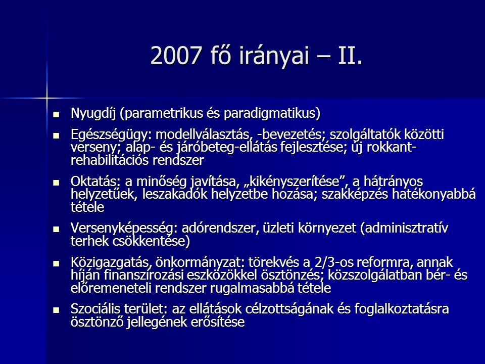2007 fő irányai – II.