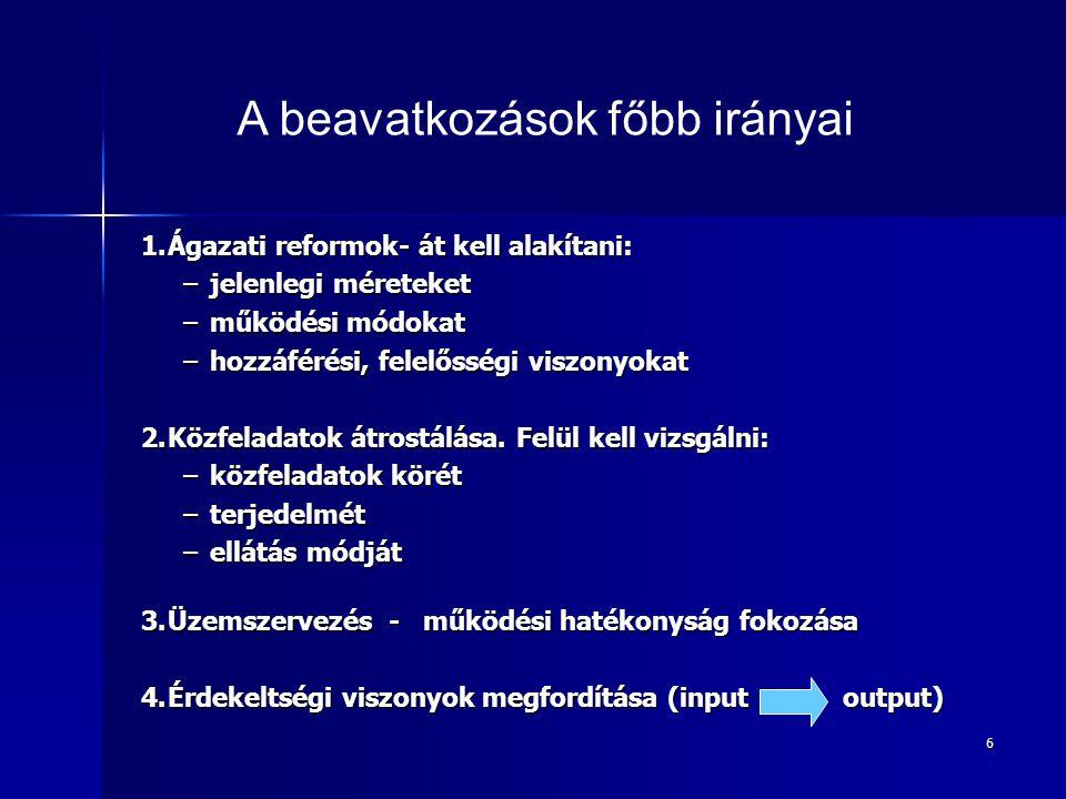 6 1.Ágazati reformok- át kell alakítani: –jelenlegi méreteket –működési módokat –hozzáférési, felelősségi viszonyokat 2.Közfeladatok átrostálása.