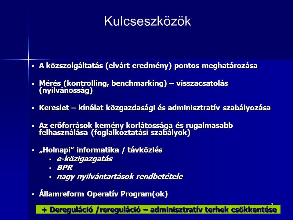 """7  A közszolgáltatás (elvárt eredmény) pontos meghatározása  Mérés (kontrolling, benchmarking) – visszacsatolás (nyilvánosság)  Kereslet – kínálat közgazdasági és adminisztratív szabályozása  Az erőforrások kemény korlátossága és rugalmasabb felhasználása (foglalkoztatási szabályok)  """"Holnapi informatika / távközlés  e-közigazgatás  BPR  nagy nyilvántartások rendbetétele  Államreform Operatív Program(ok) Kulcseszközök + Dereguláció /rereguláció – adminisztratív terhek csökkentése + Dereguláció /rereguláció – adminisztratív terhek csökkentése"""