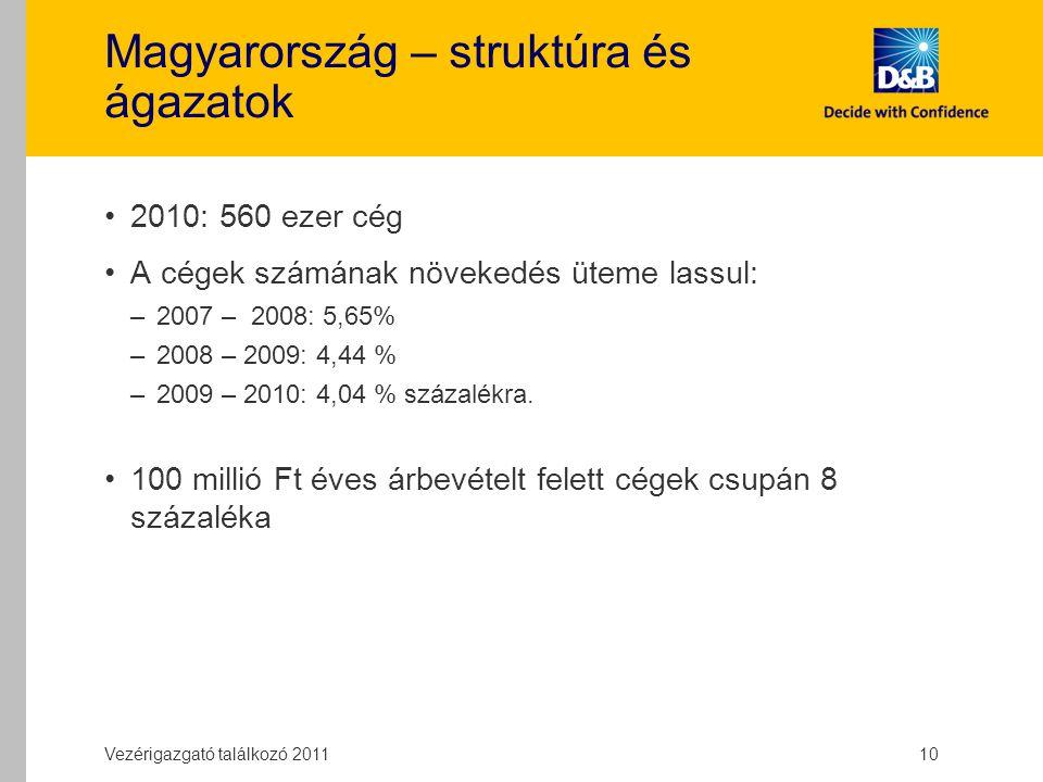 Magyarország – struktúra és ágazatok 2010: 560 ezer cég A cégek számának növekedés üteme lassul: –2007 – 2008: 5,65% –2008 – 2009: 4,44 % –2009 – 2010: 4,04 % százalékra.