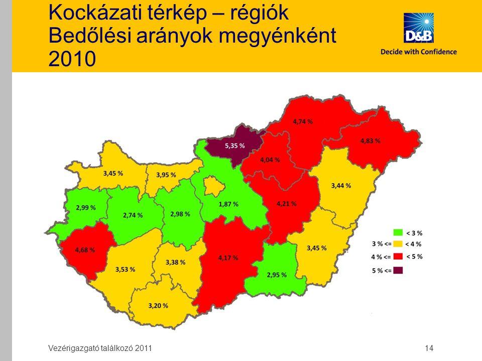Kockázati térkép – régiók Bedőlési arányok megyénként 2010 Vezérigazgató találkozó 2011 14