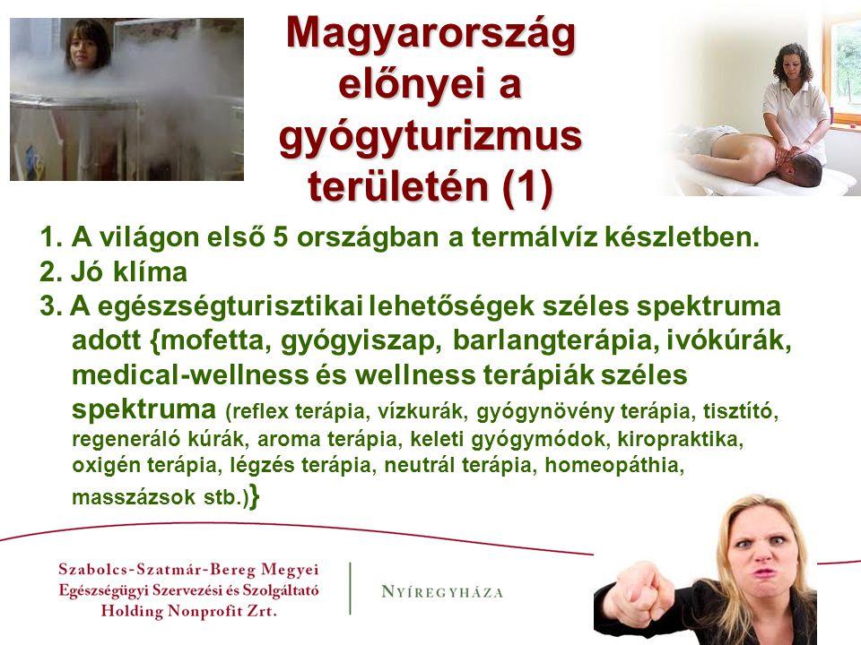 Magyarország előnyei a gyógyturizmus területén (2) Hagyományosan meglévő egészségturizmusban részt vevő medicinális területek: -Fogorvoslás -Szemészet és optikai ellátás -Plasztikai sebészet