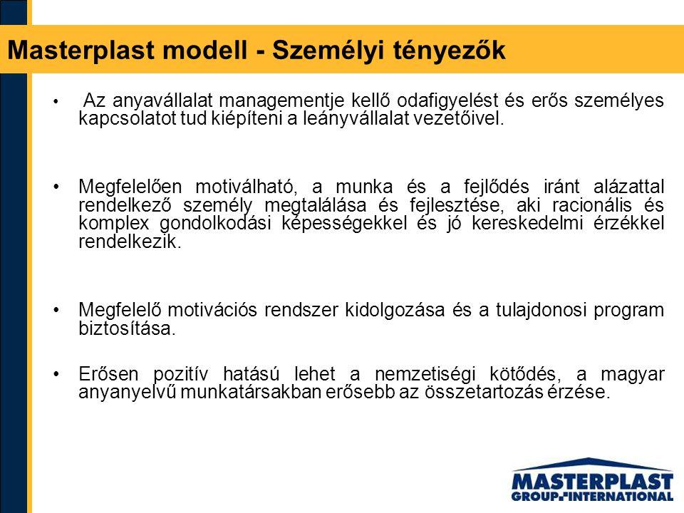Masterplast modell - Személyi tényezők Az anyavállalat managementje kellő odafigyelést és erős személyes kapcsolatot tud kiépíteni a leányvállalat vez