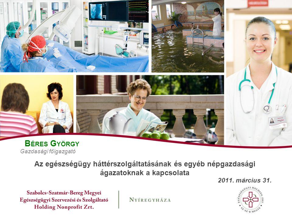 B ÉRES G YÖRGY Gazdasági főigazgató Az egészségügy háttérszolgáltatásának és egyéb népgazdasági ágazatoknak a kapcsolata 2011.