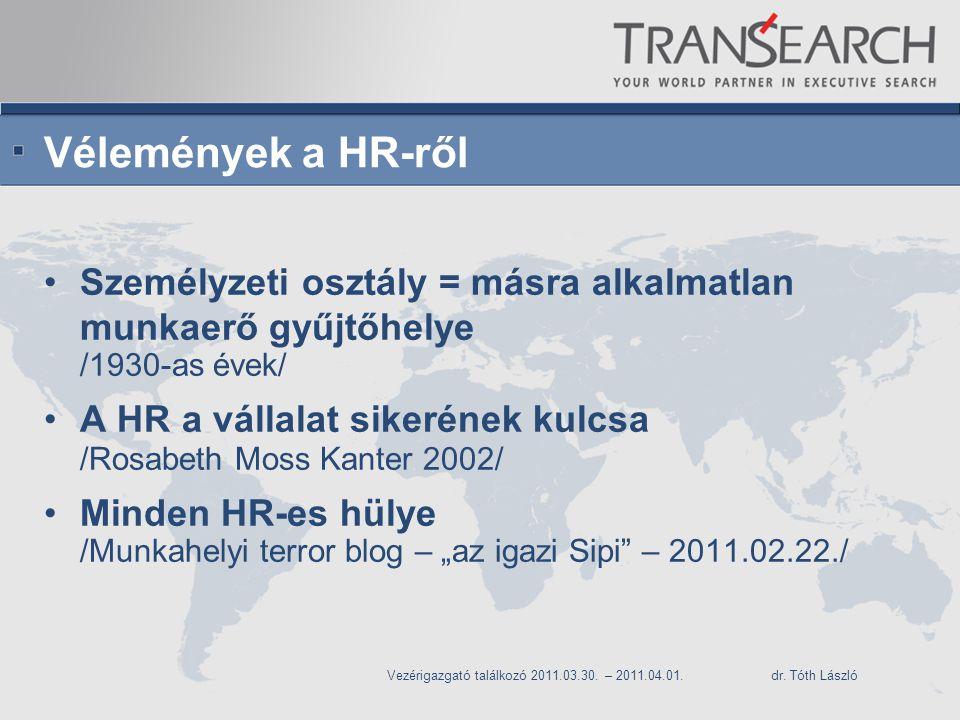 """Vélemények a HR-ről Személyzeti osztály = másra alkalmatlan munkaerő gyűjtőhelye /1930-as évek/ A HR a vállalat sikerének kulcsa /Rosabeth Moss Kanter 2002/ Minden HR-es hülye /Munkahelyi terror blog – """"az igazi Sipi – 2011.02.22./ Vezérigazgató találkozó 2011.03.30."""