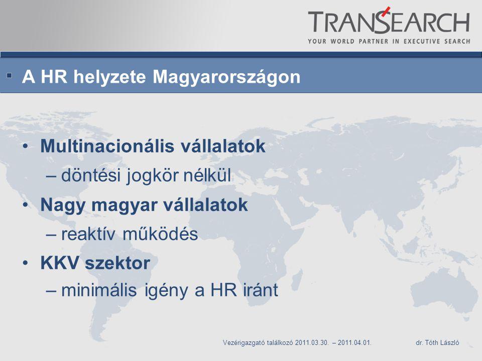 A HR helyzete Magyarországon Multinacionális vállalatok –döntési jogkör nélkül Nagy magyar vállalatok –reaktív működés KKV szektor –minimális igény a HR iránt Vezérigazgató találkozó 2011.03.30.