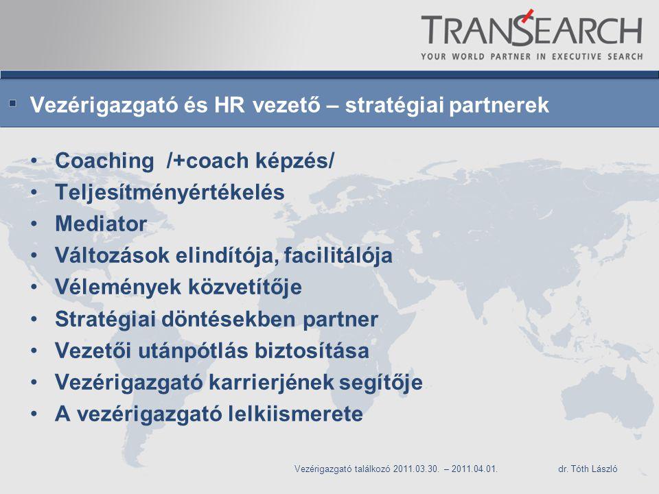 Vezérigazgató és HR vezető – stratégiai partnerek Coaching /+coach képzés/ Teljesítményértékelés Mediator Változások elindítója, facilitálója Vélemények közvetítője Stratégiai döntésekben partner Vezetői utánpótlás biztosítása Vezérigazgató karrierjének segítője A vezérigazgató lelkiismerete Vezérigazgató találkozó 2011.03.30.