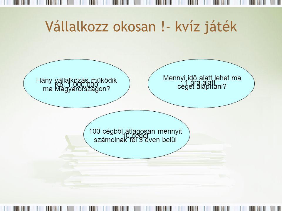 Vállalkozz okosan !- kvíz játék Hány vállalkozás működik ma Magyarországon.