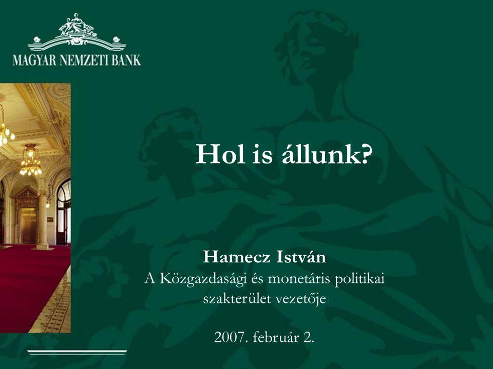 Hol is állunk. Hamecz István A Közgazdasági és monetáris politikai szakterület vezetője 2007.