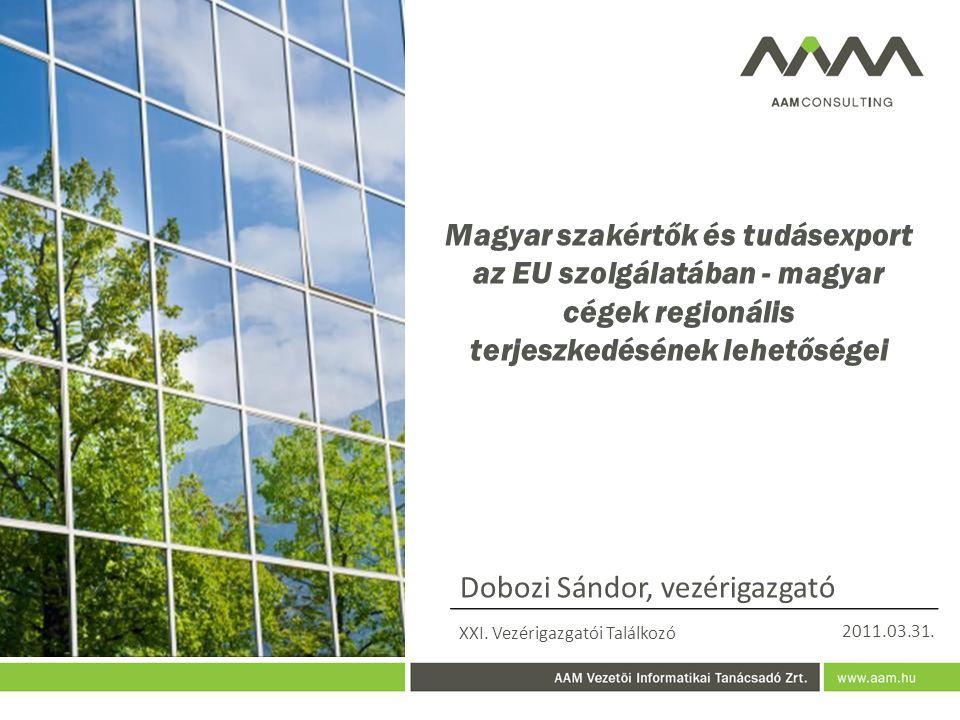 Magyar szakértők és tudásexport az EU szolgálatában - magyar cégek regionális terjeszkedésének lehetőségei Dobozi Sándor, vezérigazgató XXI.