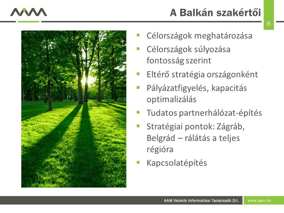 8 A Balkán szakértői  Célországok meghatározása  Célországok súlyozása fontosság szerint  Eltérő stratégia országonként  Pályázatfigyelés, kapacitás optimalizálás  Tudatos partnerhálózat-építés  Stratégiai pontok: Zágráb, Belgrád – rálátás a teljes régióra  Kapcsolatépítés