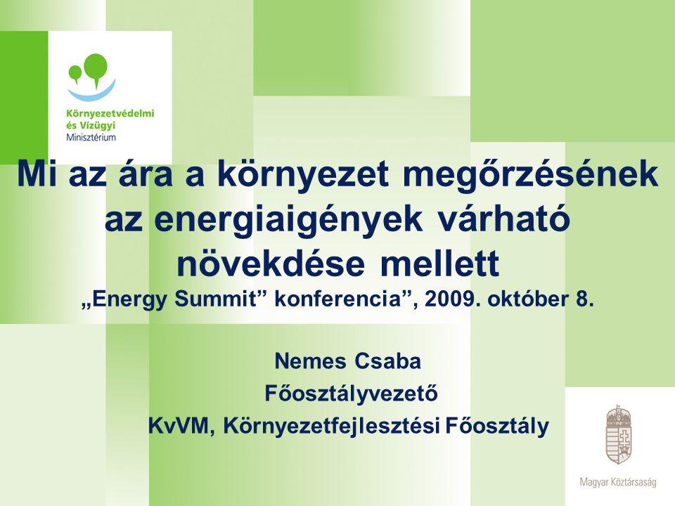 """Mi az ára a környezet megőrzésének az energiaigények várható növekdése mellett """"Energy Summit konferencia , 2009."""