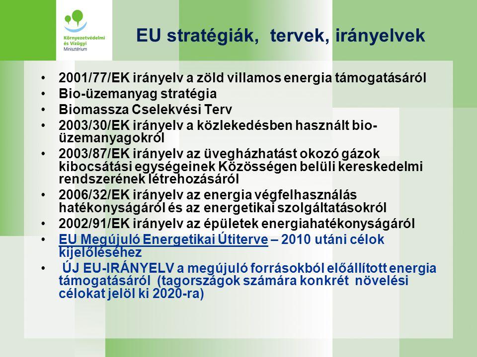 EU stratégiák, tervek, irányelvek 2001/77/EK irányelv a zöld villamos energia támogatásáról Bio-üzemanyag stratégia Biomassza Cselekvési Terv 2003/30/EK irányelv a közlekedésben használt bio- üzemanyagokról 2003/87/EK irányelv az üvegházhatást okozó gázok kibocsátási egységeinek Közösségen belüli kereskedelmi rendszerének létrehozásáról 2006/32/EK irányelv az energia végfelhasználás hatékonyságáról és az energetikai szolgáltatásokról 2002/91/EK irányelv az épületek energiahatékonyságáról EU Megújuló Energetikai Útiterve – 2010 utáni célok kijelőléséhez ÚJ EU-IRÁNYELV a megújuló forrásokból előállított energia támogatásáról (tagországok számára konkrét növelési célokat jelöl ki 2020-ra)