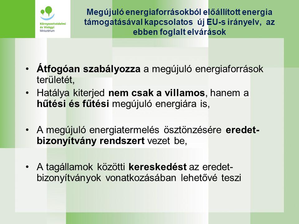 Új EU-s irányelv A tervezet egyes tagállamok számára célokat jelöl ki a megújulók felhasználásra, Magyarország számára a tervezet 13 %-os célt határoz meg 2020-ra, A tagállamoknak a cél eléréséhez nemzeti akciótervet kell kidolgozni,amely folyamatban van az energetikai tárcánál, Egy tagállam a más tagállamokban létrejött megújuló energia termelést is felhasználhatja saját megújulós céljának elérésre, amennyiben az ehhez tartozó eredet-bizonyítványt megvásárolja, A tervezet a bioüzemanyagok és egyéb folyékony bio- energiahordozók termelésére vonatkozó fenntarthatósági kritérium rendszert is tartalmaz.