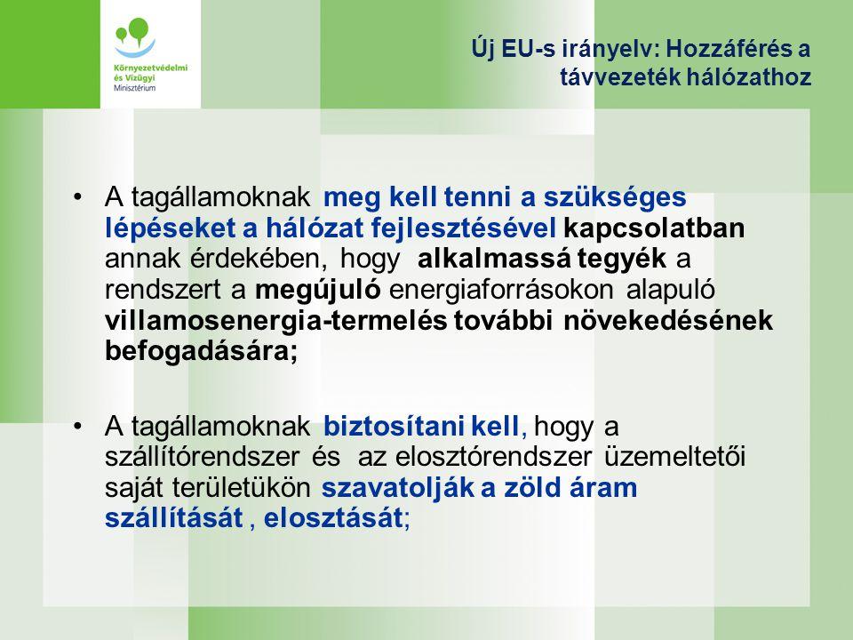 Új EU-s irányelv: Hozzáférés a távvezeték hálózathoz A tagállamoknak meg kell tenni a szükséges lépéseket a hálózat fejlesztésével kapcsolatban annak érdekében, hogy alkalmassá tegyék a rendszert a megújuló energiaforrásokon alapuló villamosenergia-termelés további növekedésének befogadására; A tagállamoknak biztosítani kell, hogy a szállítórendszer és az elosztórendszer üzemeltetői saját területükön szavatolják a zöld áram szállítását, elosztását;