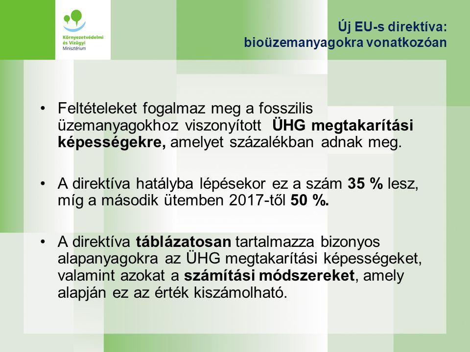 Új EU-s direktíva : Bioüzemanyagok vonatkozásában Fenntarthatósági kritériumokat tartalmaz annak érdekében,hogy a bioüg.