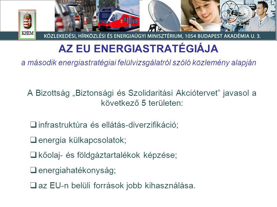 """AZ EU ENERGIASTRATÉGIÁJA a második energiastratégiai felülvizsgálatról szóló közlemény alapján A Bizottság """"Biztonsági és Szolidaritási Akciótervet javasol a következő 5 területen:  infrastruktúra és ellátás-diverzifikáció;  energia külkapcsolatok;  kőolaj- és földgáztartalékok képzése;  energiahatékonyság;  az EU-n belüli források jobb kihasználása."""