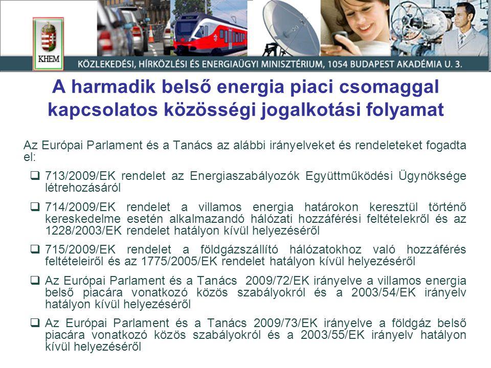 A harmadik belső energia piaci csomaggal kapcsolatos közösségi jogalkotási folyamat Az Európai Parlament és a Tanács az alábbi irányelveket és rendele