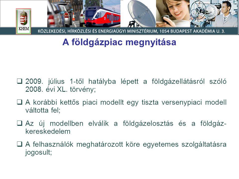 A földgázpiac megnyitása  2009. július 1-től hatályba lépett a földgázellátásról szóló 2008.