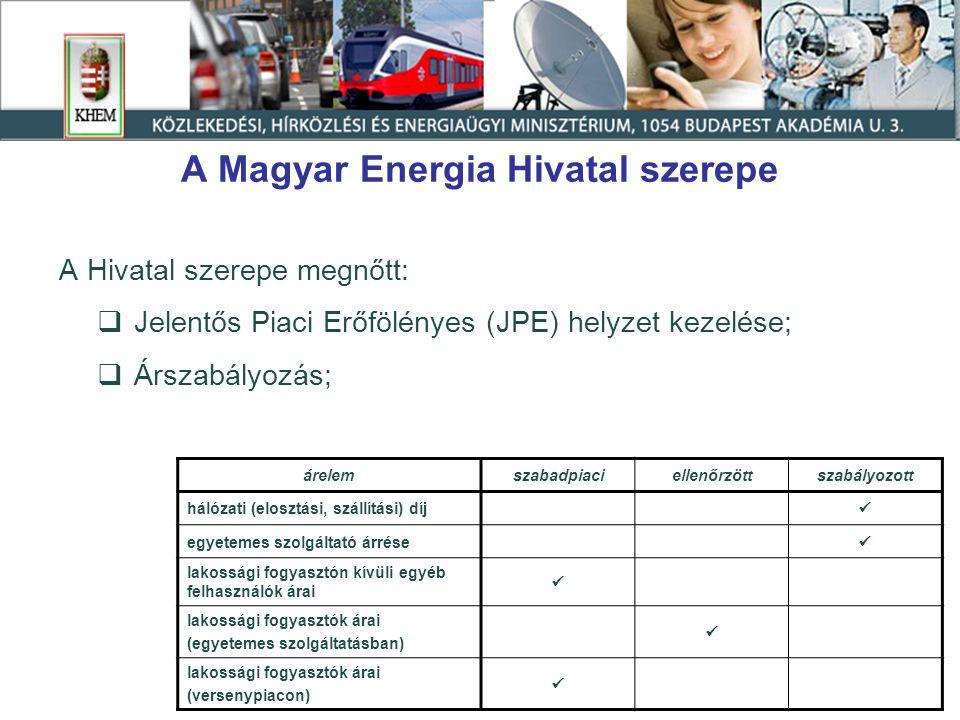 A Magyar Energia Hivatal szerepe A Hivatal szerepe megnőtt:  Jelentős Piaci Erőfölényes (JPE) helyzet kezelése;  Árszabályozás; árelemszabadpiaciell