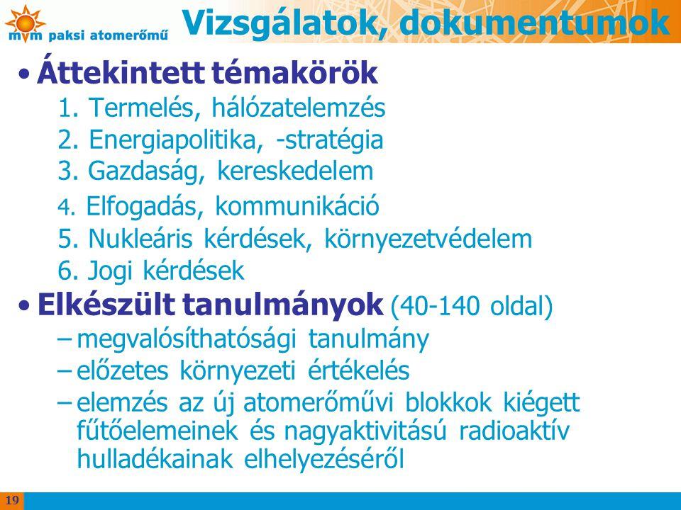 Vizsgálatok, dokumentumok Áttekintett témakörök 1.