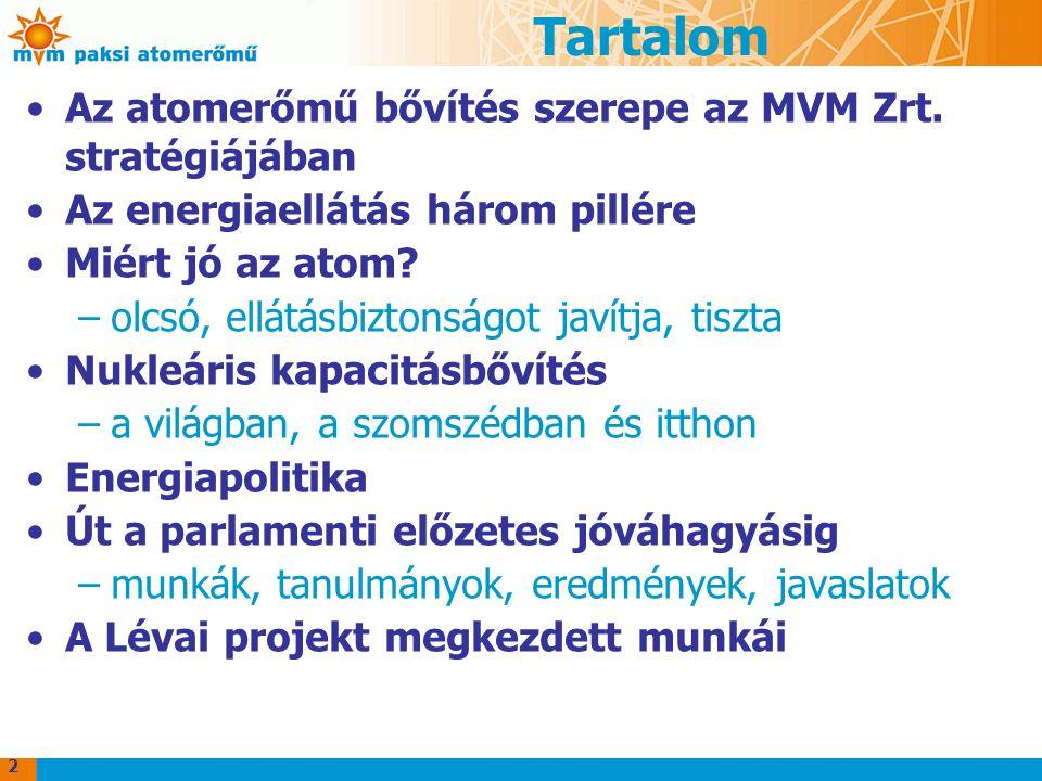 Tartalom Az atomerőmű bővítés szerepe az MVM Zrt. stratégiájában Az energiaellátás három pillére Miért jó az atom? –olcsó, ellátásbiztonságot javítja,