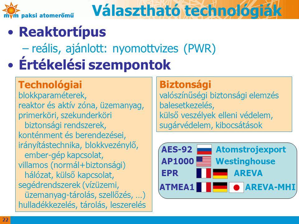 Választható technológiák Reaktortípus –reális, ajánlott: nyomottvizes (PWR) Értékelési szempontok Technológiai blokkparaméterek, reaktor és aktív zóna, üzemanyag, primerköri, szekunderköri biztonsági rendszerek, konténment és berendezései, irányítástechnika, blokkvezénylő, ember-gép kapcsolat, villamos (normál+biztonsági) hálózat, külső kapcsolat, segédrendszerek (vízüzemi, üzemanyag-tárolás, szellőzés, …) hulladékkezelés, tárolás, leszerelés Biztonsági valószínűségi biztonsági elemzés balesetkezelés, külső veszélyek elleni védelem, sugárvédelem, kibocsátások AES-92 Atomstrojexport AP1000 Westinghouse EPR AREVA ATMEA1 AREVA-MHI 22