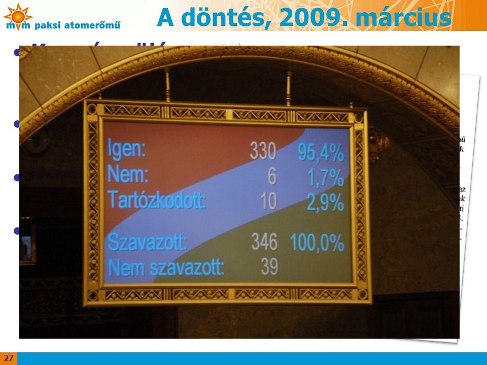 A döntés, 2009. március Kormány ülése –döntés: parlamenttől elvi hozzájárulást kérnek a atomerőmű blokkok építés előkészítéséhez Parlament, Gazdasági