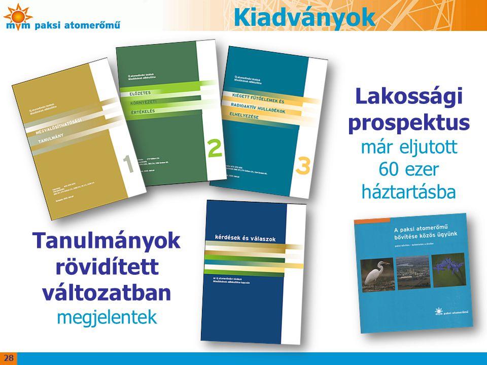 Kiadványok Tanulmányok rövidített változatban megjelentek 28 Lakossági prospektus már eljutott 60 ezer háztartásba