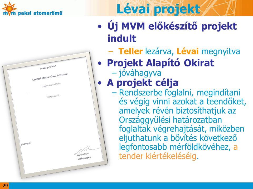 29 Lévai projekt Új MVM előkészítő projekt indult –Teller lezárva, Lévai megnyitva Projekt Alapító Okirat –jóváhagyva A projekt célja –Rendszerbe fogl