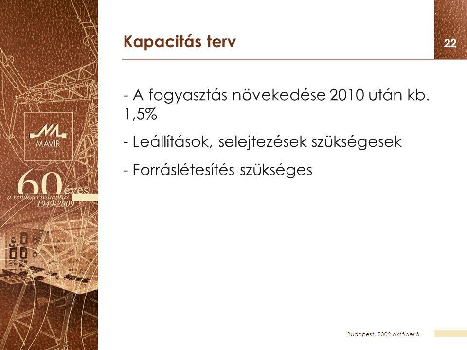 Budapest, 2009.október 8. 22 Kapacitás terv - A fogyasztás növekedése 2010 után kb. 1,5% - Leállítások, selejtezések szükségesek - Forráslétesítés szü