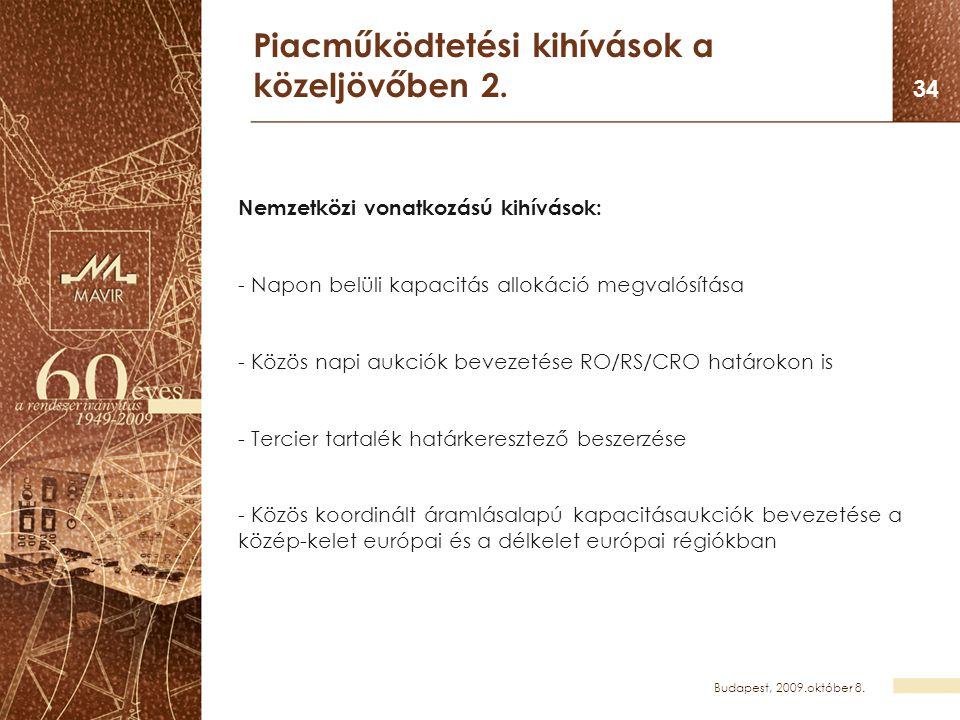 Budapest, 2009.október 8. 34 Piacműködtetési kihívások a közeljövőben 2. Nemzetközi vonatkozású kihívások: - Napon belüli kapacitás allokáció megvalós