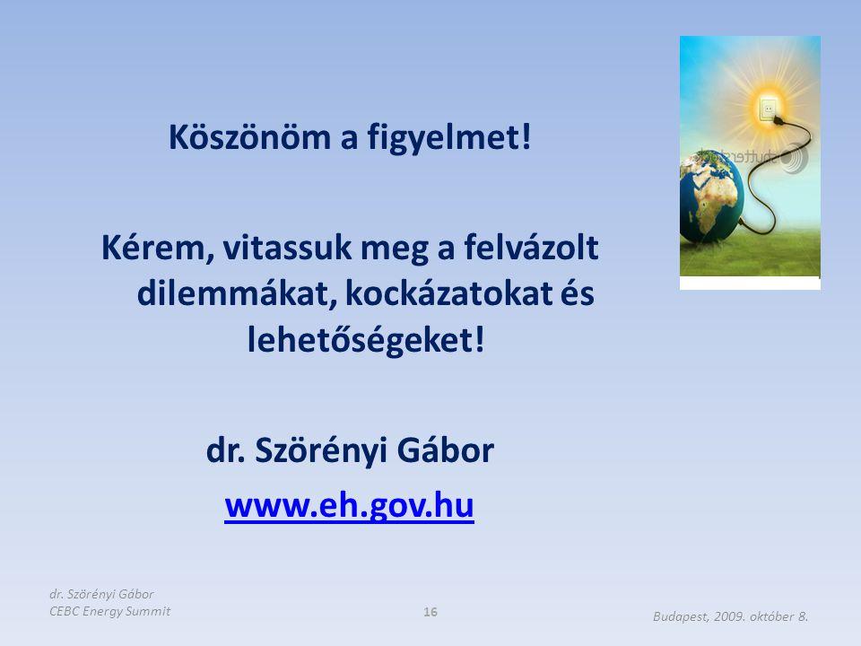 Köszönöm a figyelmet! Kérem, vitassuk meg a felvázolt dilemmákat, kockázatokat és lehetőségeket! dr. Szörényi Gábor www.eh.gov.hu 16 Budapest, 2009. o