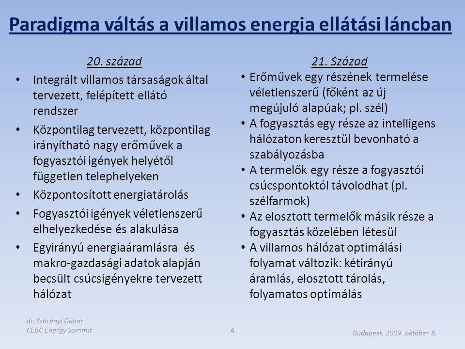 A termelésen (szolgáltatáson) alapuló fogyasztás koncepciója helyett; fogyasztás- vezérelt termelés/szolgáltatás A valós idejű kiegyenlítés növekvő fontossága, súlya Aggregátorok megjelenése, szerepe (kis- és közepes méretű fogyasztók és termelők összefogása) energia vásárlási/értékesítési céllal és a kiegyenlítő piacon, ill.