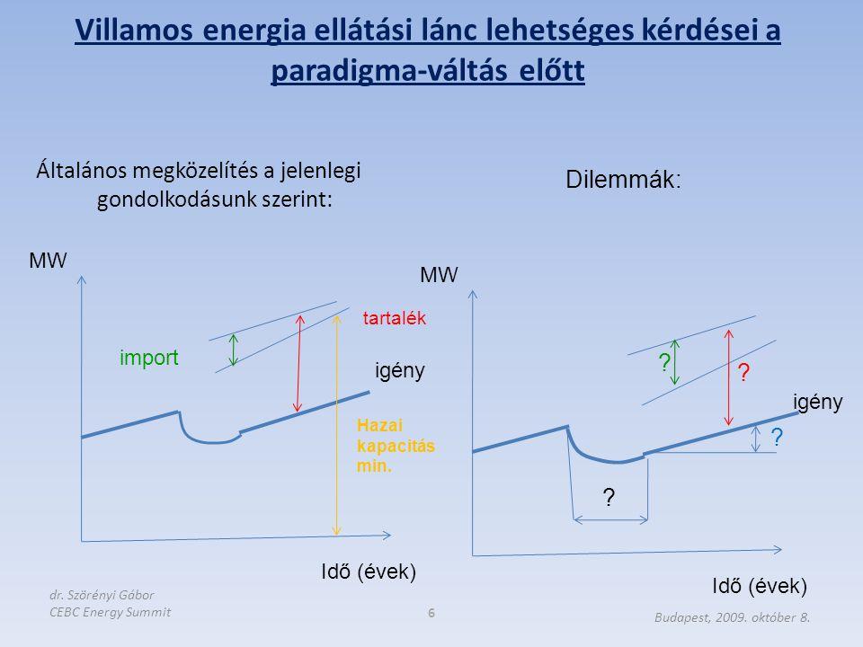 """Gazdasági és pénzügyi válság elhúzódó (?) hatása Új finanszírozási elvek: – Kevesebb pénzügyi forrás – """"Csak a jó projekteket finanszírozzák  Hatás a fogyasztói oldalon is Energiahatékonysági célok érvényesülése: – 20% cél – A Bizottság új ActionPlan-je 2009-ben: kötelező célszámok, tarifa-elem, fehér bizonyítvány mint elképzelés  Hatása előbb, utóbb érvényesül az igény mérséklésében Klímaváltozás elleni nemzetközi összefogás: – Megújulók intenzív támogatása – Elosztott termelés hálózatra segítése – Smart grid: fogyasztók, termelők szabályozásba vonása – Elosztott tárolás (elektromos autók)  csökkenő csúcsigény  Előbb utóbb, de várhatóan 2020 előtt mérséklődő nagy- erőművi kapacitás igény Fogyasztói igények 7 Budapest, 2009."""