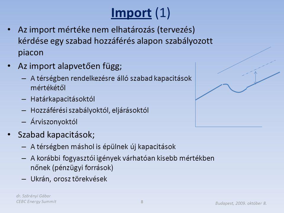 Import (1) 8 Budapest, 2009. október 8. dr. Szörényi Gábor CEBC Energy Summit Az import mértéke nem elhatározás (tervezés) kérdése egy szabad hozzáfér
