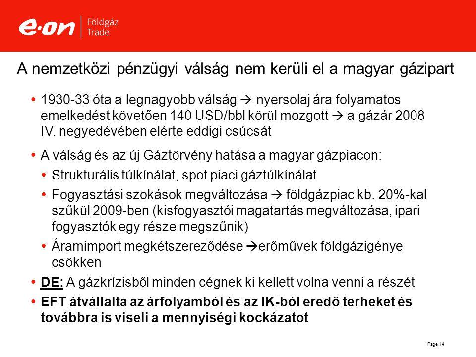 Page 14 A nemzetközi pénzügyi válság nem kerüli el a magyar gázipart  1930-33 óta a legnagyobb válság  nyersolaj ára folyamatos emelkedést követően
